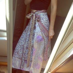 Colorful Multi Printed Indian Silk Wrap Skirt